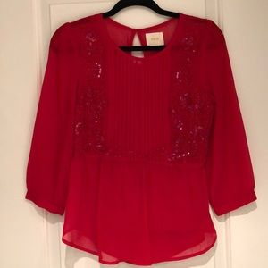 Anthropologie Maeve Red Tunic
